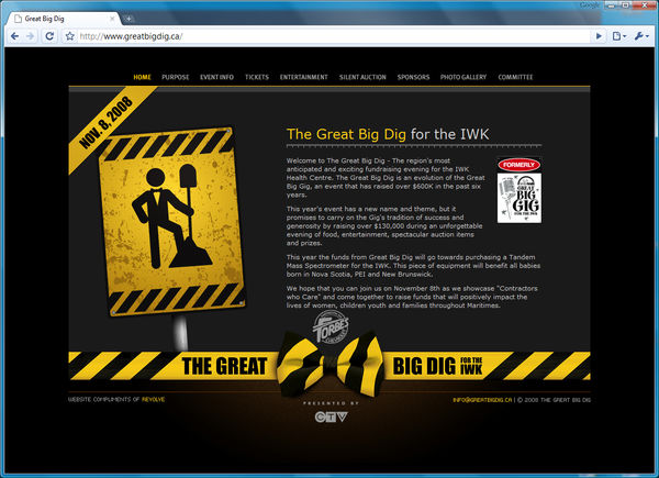 Great Big Dig web site by Revolve