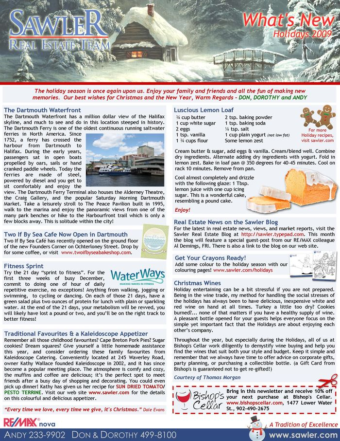 Sawler Team - 2009 Holiday Newsletter
