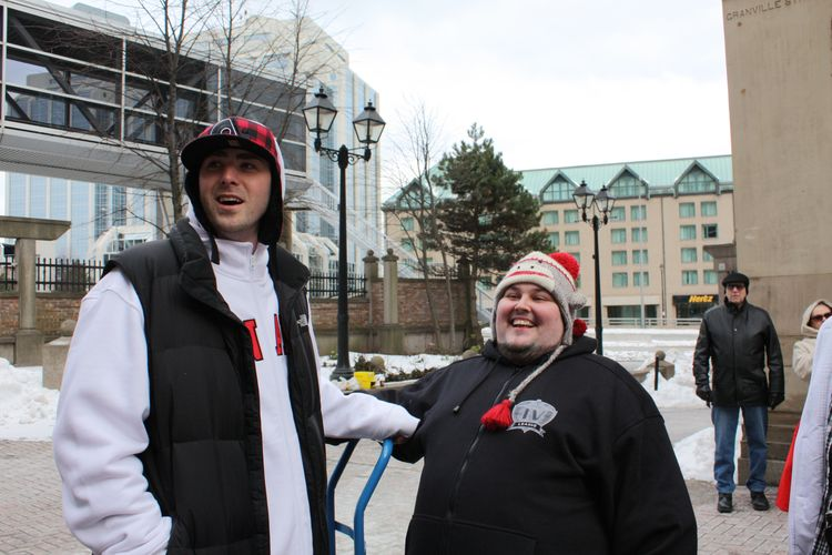 "Classified and Dj IV on the set of ""Oh Canada"""